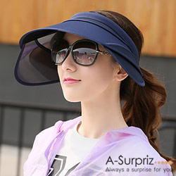 A-Surpriz 空頂伸縮鏡片抗UV帽(深藍)附防風繩