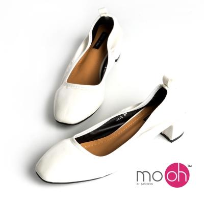 mo-oh-素面復古百搭方頭鬆緊帶粗跟鞋-白