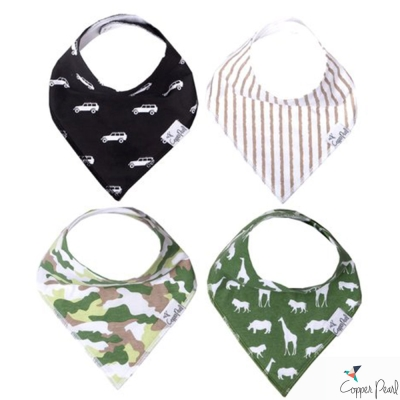 Copper Pearl 美國 迷彩探險雙面領巾圍兜口水巾4件組