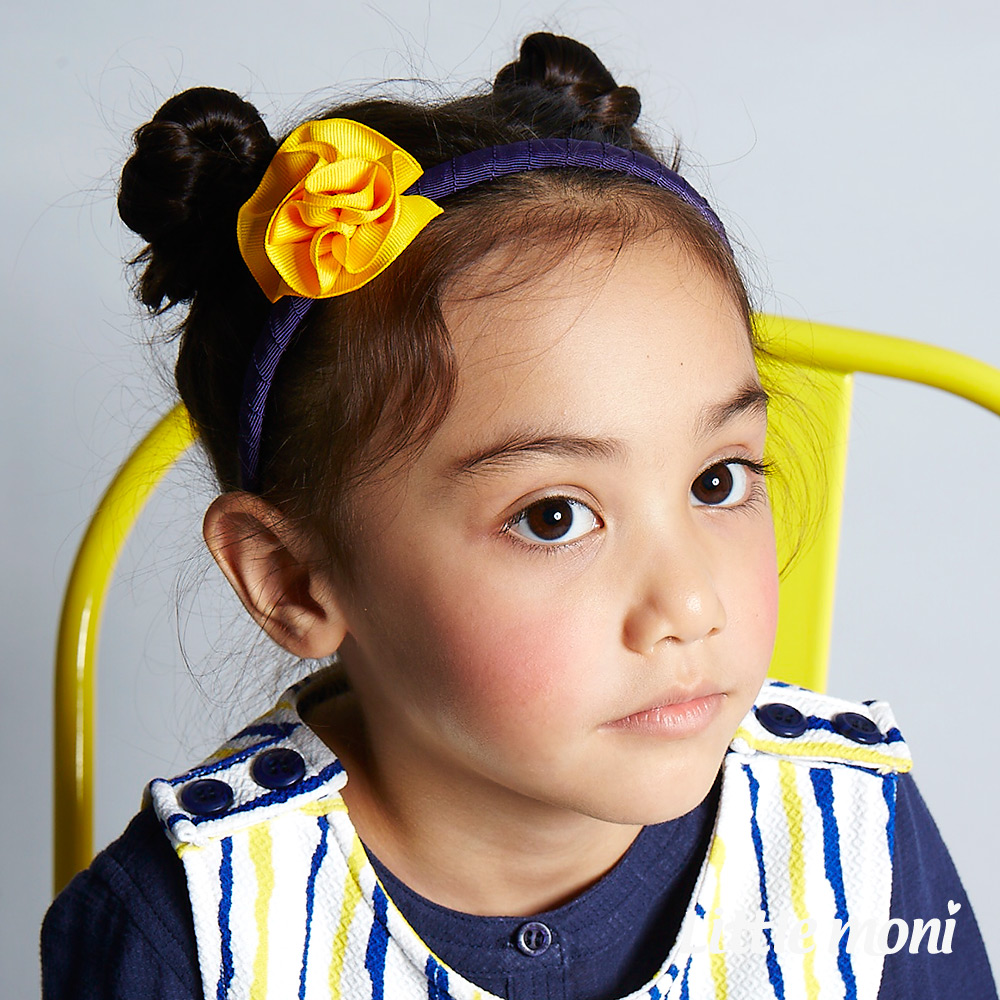 Little moni  手工立體小花髮箍 黃色