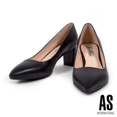 高跟鞋 AS 簡約純色全真皮尖頭粗跟高跟鞋-黑