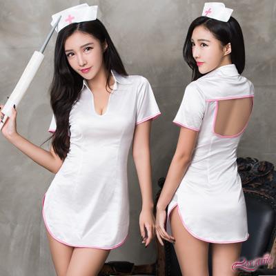 護士服 純白護士連身裙角色扮演服三件組(白F) Lorraine