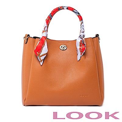 LOOK真皮絲巾手提包-俏麗女孩Queena系列-氣質駝