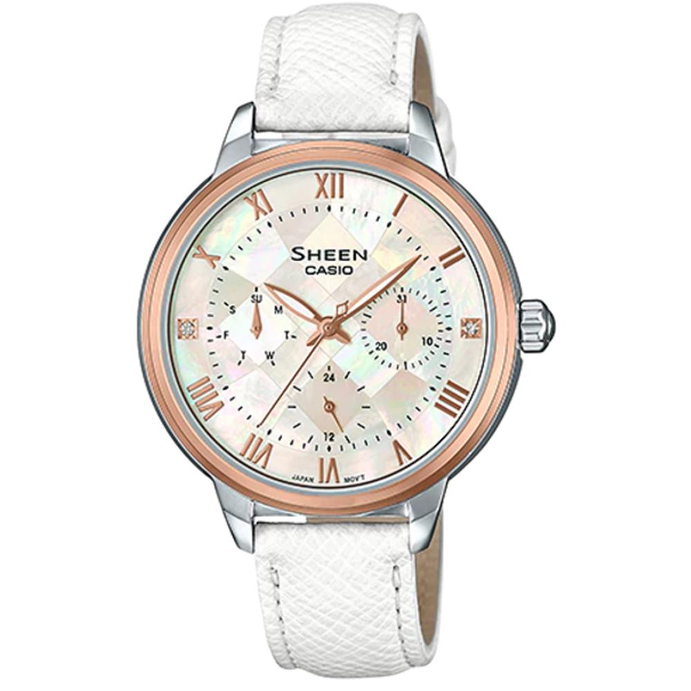 SHEEN 切割玻璃面設計羅馬時刻皮帶腕錶(SHE-3057PGL-7A)白色37.1mm