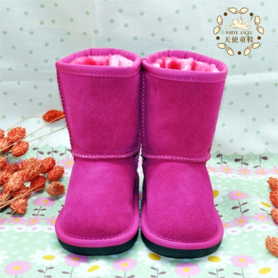 天使童鞋-B326 百搭簡約素面雪靴-桃