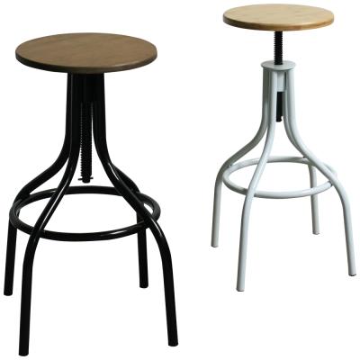 YOI傢俱 克朗工業風金屬吧台椅(高腳椅)35x35x64-82.5cm