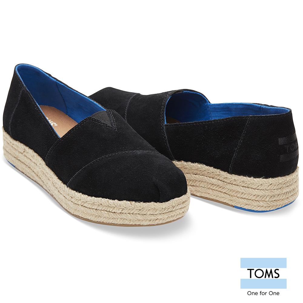 TOMS 麂皮厚底藤編休間鞋-女款 @ Y!購物