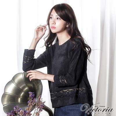 Victoria 蕾絲拼接寬鬆長袖T-女-黑色