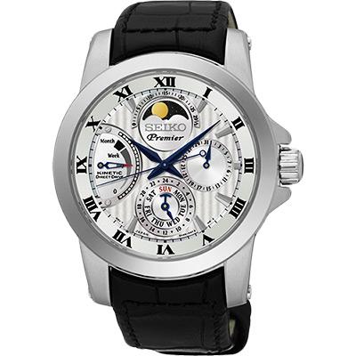 SEIKO Premier 互動式人動電能月相腕錶(SRX011J2)-銀/41mm