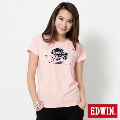 EDWIN-江戶海浪植絨雲海短袖T恤-女-淡粉