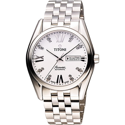 TITONI Airmaster 紳士時尚Day-Date機械腕錶-銀/40mm