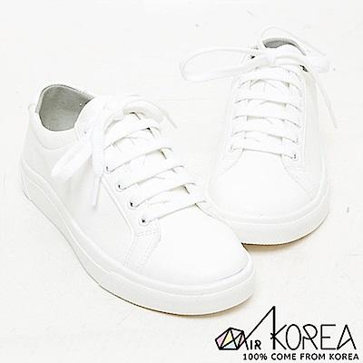 【AIRKOREA】韓國空運皮革質感休閒基本款增高鞋 白