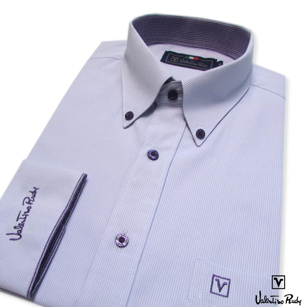 Valentino Rudy范倫鐵諾.路迪-長袖襯衫-淡紫-釘釦領