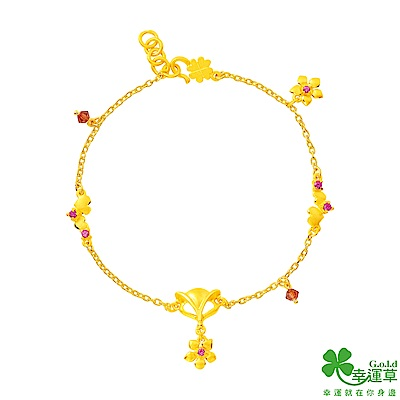幸運草 喜緣狐黃金/紅寶/水晶手鍊