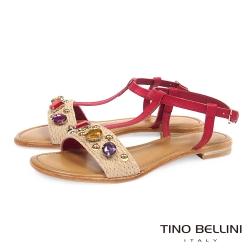 Tino Bellini 義大利進口璀璨寶石工字平底涼鞋_紅