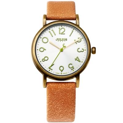 JULIUS聚利時 我的小宇宙立體刻度皮錶帶腕錶-淺駝色/33mm