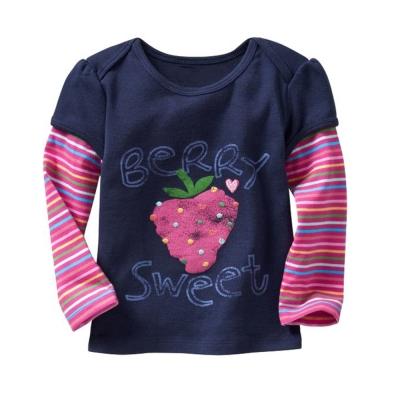 歐美風 繽紛草莓 女童 純棉長袖T恤