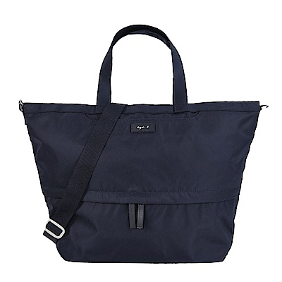 agnes b.皮標前口袋手提/斜背包-大/深藍