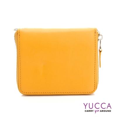 YUCCA-繽紛撞色系牛皮卡片短夾肩背小包-黃色 D0093010C68