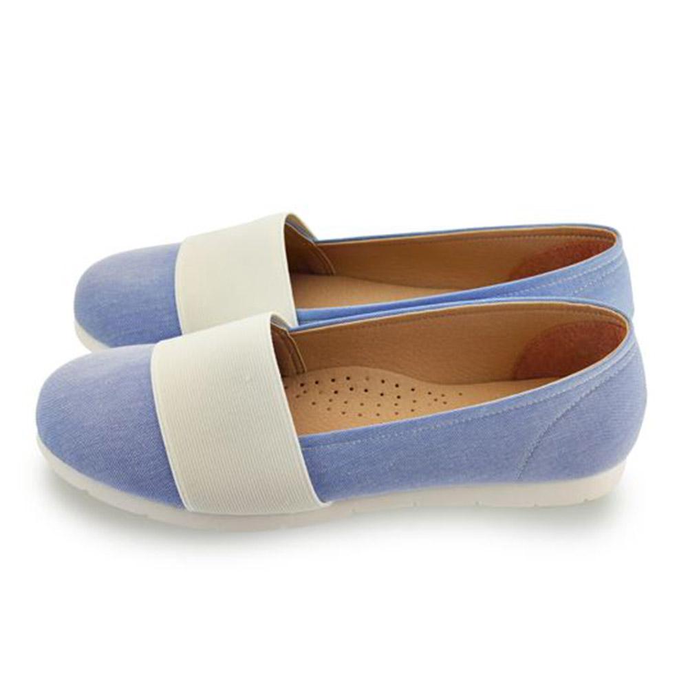 FUFA  MIT  寬帶牛仔舒適便鞋 (FE57) 藍色
