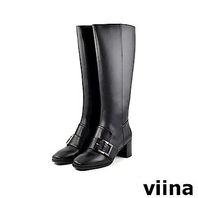 viina 完美比例-側扣低跟真皮長靴