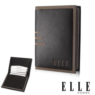 ELLE HOMME法式精品名片皮夾橫條壓紋 嚴選頭層皮、置物名片格層設計-黑