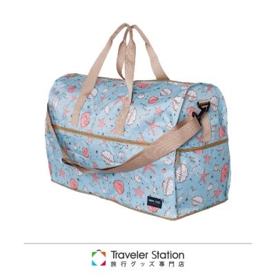 【HAPI+TAS 】海星貝殼摺疊旅行袋(大)-藍色