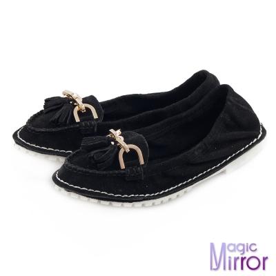 Magic-mirror-好感宣言-柔軟牛京皮革流蘇莫卡辛平底鞋-實搭黑