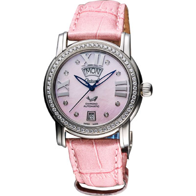 Ogival 羅馬雅典真鑽女仕機械腕錶-粉貝x粉/36mm