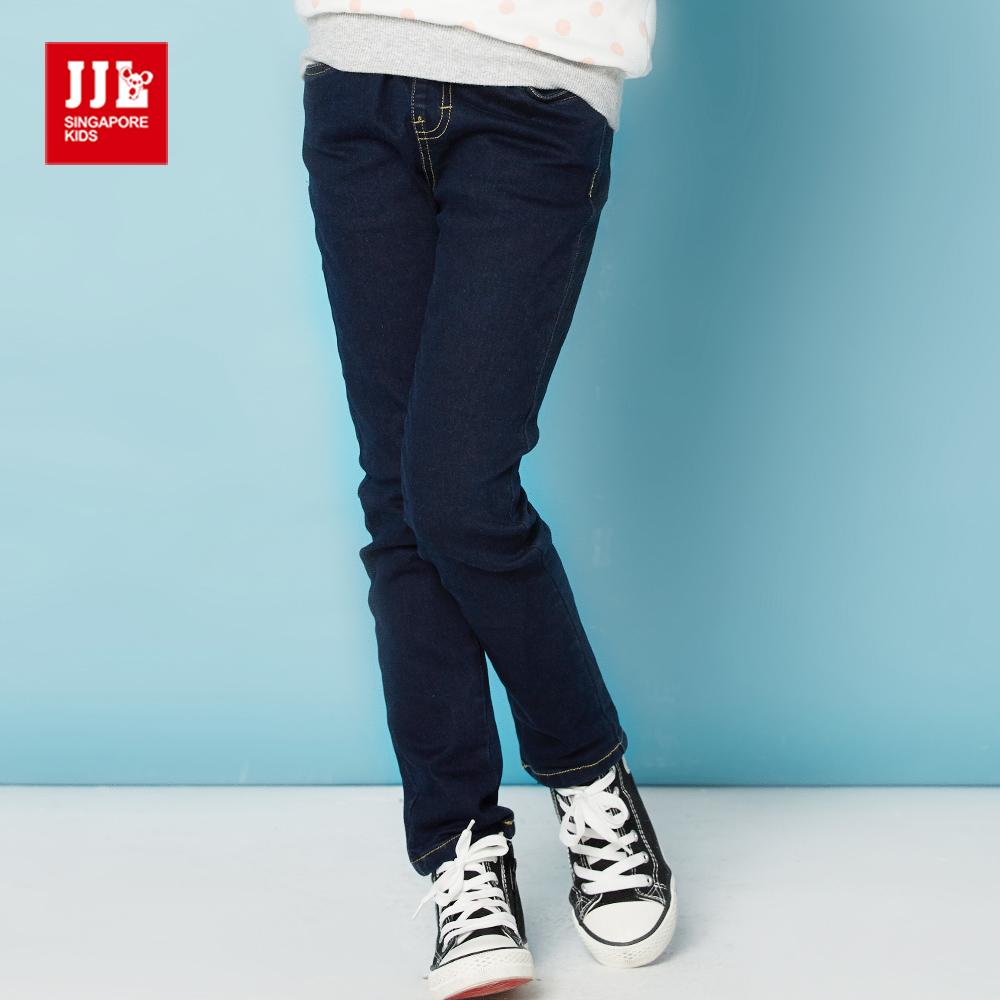 JJLKIDS 女孩經典彈性直筒牛仔褲(牛仔藍)