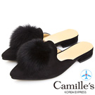 Camille's 韓國空運-毛球麂絨尖頭樂福拖鞋-黑色