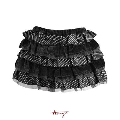 Annys條紋絨布網紗蛋糕裙*3254黑