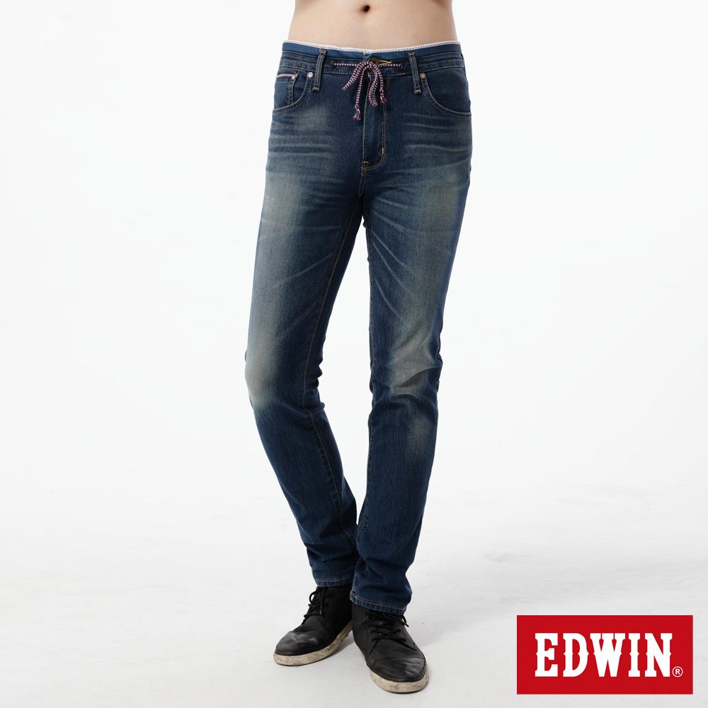EDWIN 大尺碼窄直筒 迦績褲JERSEYS新紅布邊牛仔褲-男-石洗綠