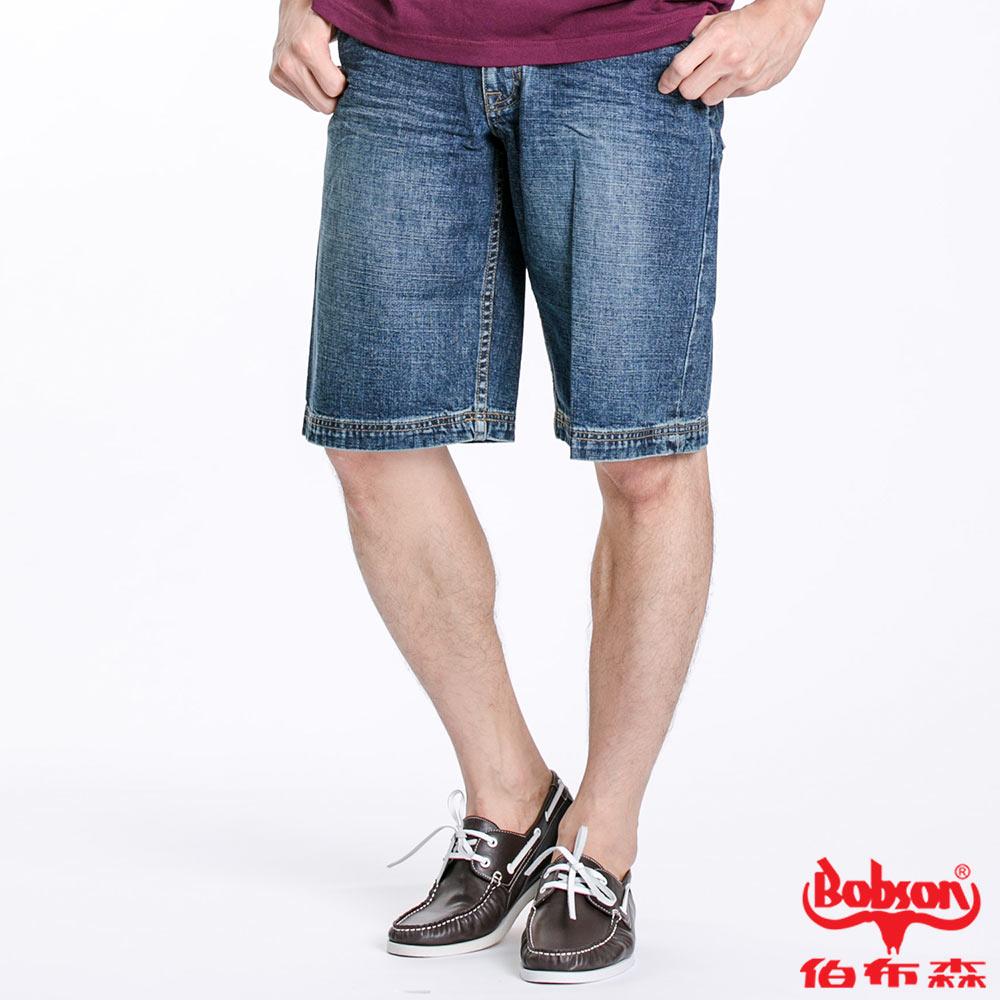 BOBSON 男款寬版牛仔短褲(藍131-53)