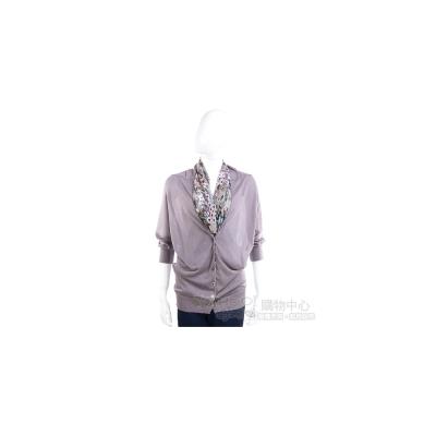 YES LONDON 紫芋色絲巾拼接針織上衣