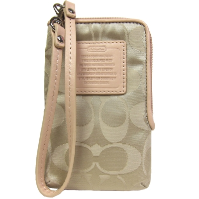 COACH 小C logo 尼龍款皮革飾邊手機袋(卡其)COACH