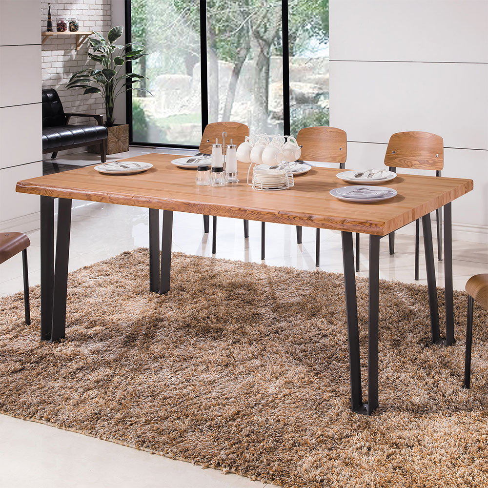 Boden-艾克工業風6尺實木餐桌