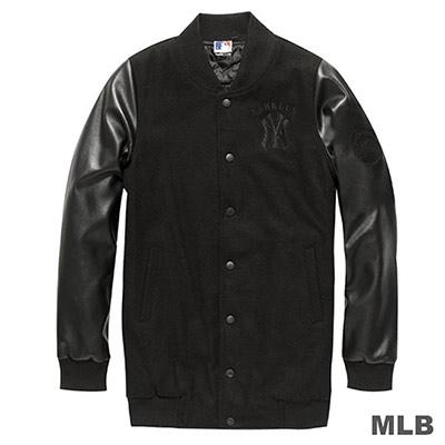 MLB-紐約洋基隊長版皮袖棒球外套-黑-女