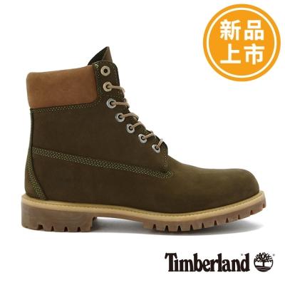 Timberland-男款深綠色素面撞色優質6吋靴