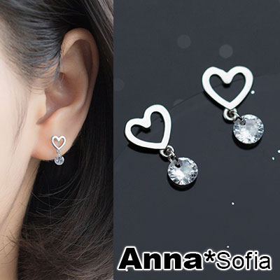 AnnaSofia-甜心鋯石裸鑽-925銀針耳針耳