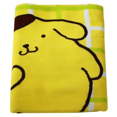 Sanrio三麗鷗授權 方格布丁狗與綠色小花浴巾 (76x152cm)