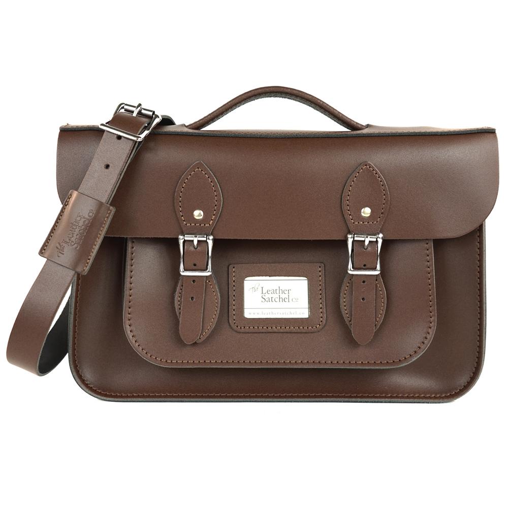 The Leather Satchel 英國手工牛皮劍橋包 肩背後背包 可可黑 14吋