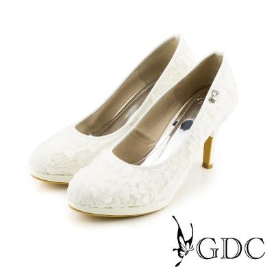GDC-性感夢幻蕾絲立體花瓣面料蝴蝶結高跟鞋(婚鞋)-白色