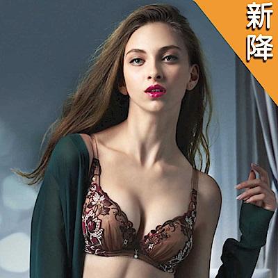 莎露 華麗系列-刺繡蕾絲-深V包覆 D 罩杯內衣(可可咖)
