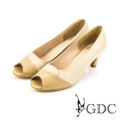 GDC-時尚OL雙色拼接真皮魚口低跟鞋-裸色