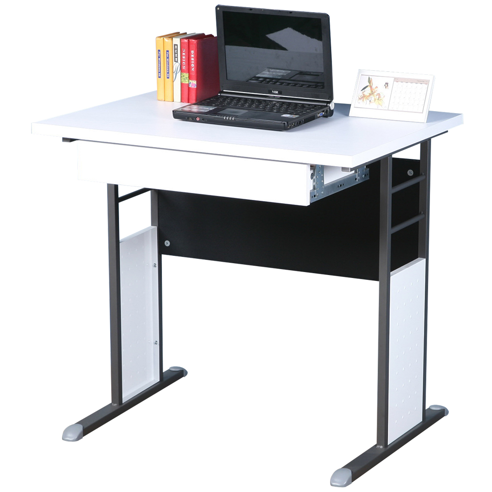 Homelike 巧思80x60辦公桌(附抽屜)-白桌面/炫灰桌腳