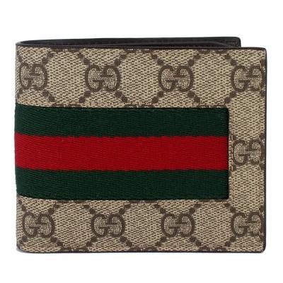 GUCCI Supeme 卡其色防水材質綠紅織帶短夾(8卡)