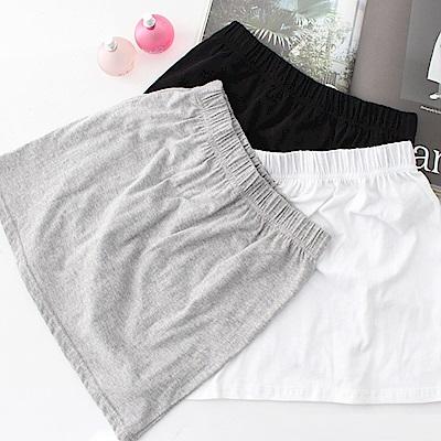 條紋腰圍鬆緊窄短裙 (黑色)-N.C21