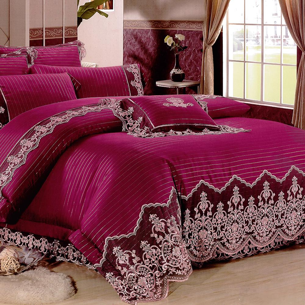 Lily Royal-60支頂級天絲銀纖維 特大四件式兩用被床包組-富貴紅