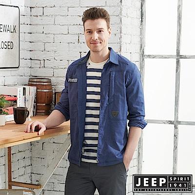 JEEP 舒適輕薄襯衫式外套-深藍